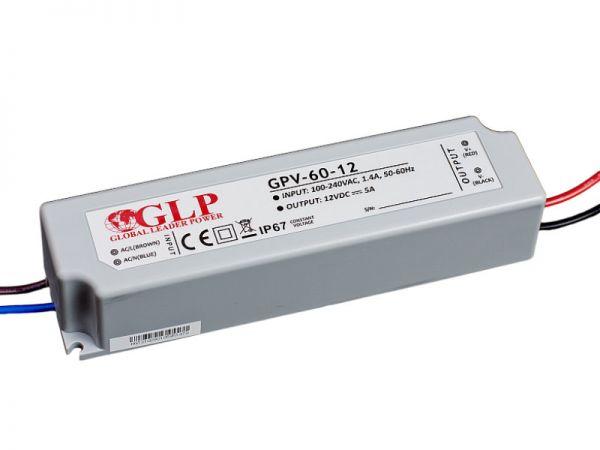 Zasilacz impulsowy wodoodporny IP 67 GPV 12V/5A 60W