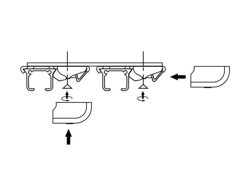 Szyna sufitowa aluminiowa dwubiegowa ZS