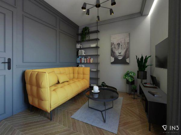 Realizacja sztukaterii w  małym nowoczesnym salonie