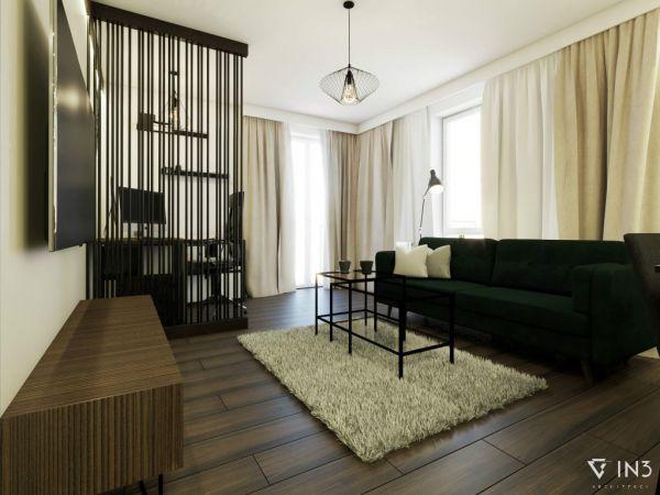 Projekt salonu 20m2 z użyciem sztukaterii Decor System